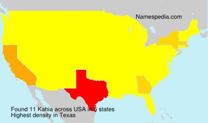 Familiennamen Kahia - USA
