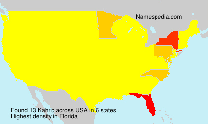 Surname Kahric in USA