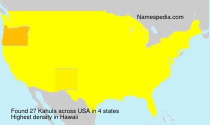 Familiennamen Kahula - USA