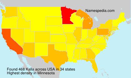 Familiennamen Kalla - USA