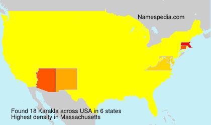 Surname Karakla in USA
