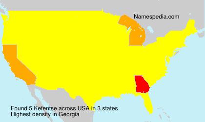 Familiennamen Kefentse - USA