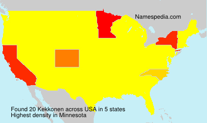 Surname Kekkonen in USA