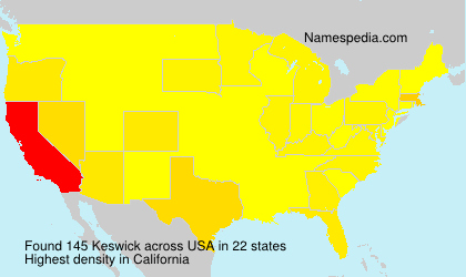 Surname Keswick in USA