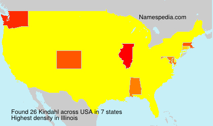 Familiennamen Kindahl - USA