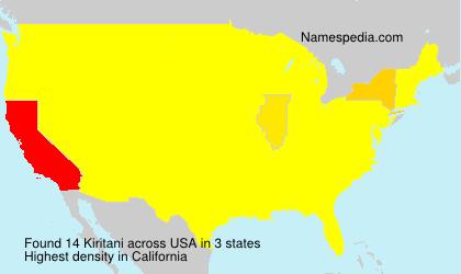 Surname Kiritani in USA