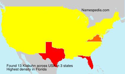 Familiennamen Klabuhn - USA