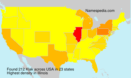 Surname Klak in USA
