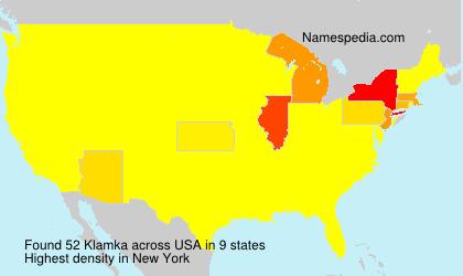 Familiennamen Klamka - USA