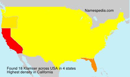 Surname Klamser in USA