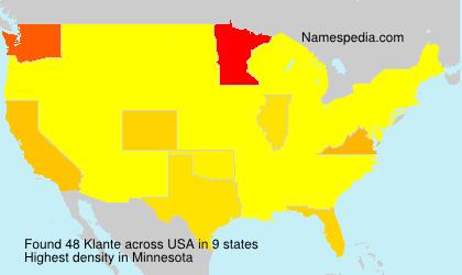 Familiennamen Klante - USA