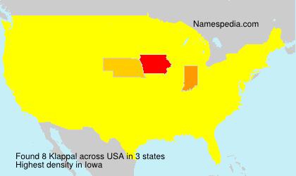 Familiennamen Klappal - USA