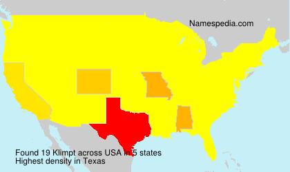 Surname Klimpt in USA