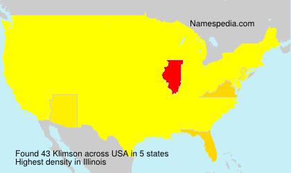 Familiennamen Klimson - USA