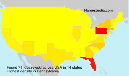 Surname Kloszewski in USA
