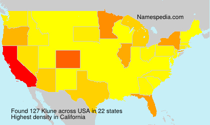 Surname Klune in USA