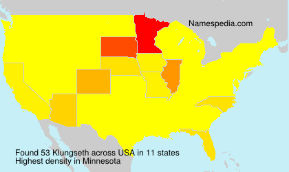 Surname Klungseth in USA