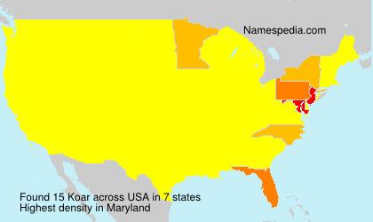 Familiennamen Koar - USA
