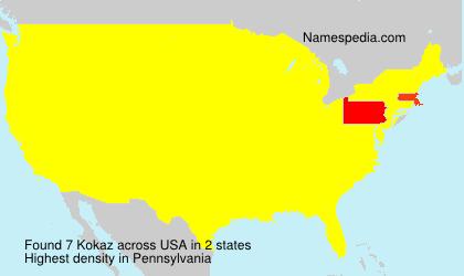 Familiennamen Kokaz - USA