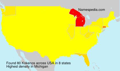 Familiennamen Kokenos - USA