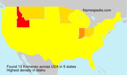 Surname Komanec in USA