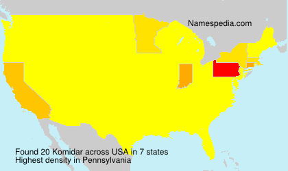 Surname Komidar in USA