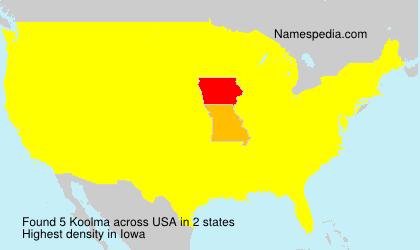 Familiennamen Koolma - USA