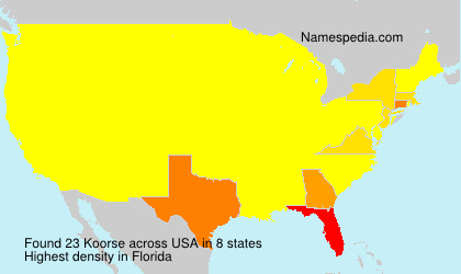 Surname Koorse in USA