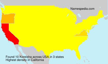 Familiennamen Koreisha - USA