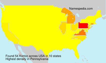 Surname Kortze in USA