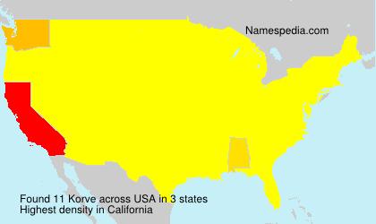 Surname Korve in USA