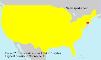 Familiennamen Kostzewski - USA