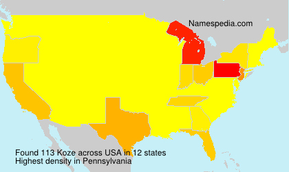 Familiennamen Koze - USA