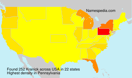 Surname Kranick in USA