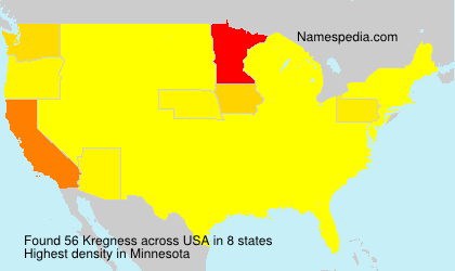 Surname Kregness in USA