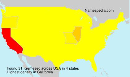Familiennamen Kremesec - USA