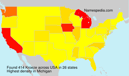Surname Kroeze in USA