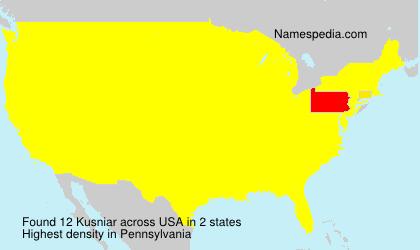 Surname Kusniar in USA