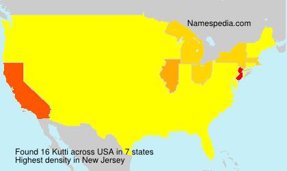 Familiennamen Kutti - USA