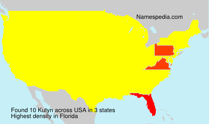 Surname Kutyn in USA