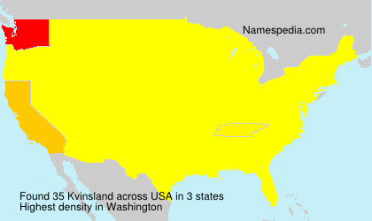 Surname Kvinsland in USA