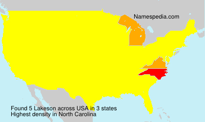 Surname Lakeson in USA