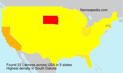Surname Lakness in USA