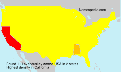 Familiennamen Lavenduskey - USA