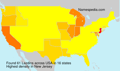Surname Lazdins in USA