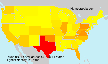 Surname Lehew in USA