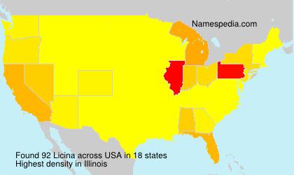Familiennamen Licina - USA