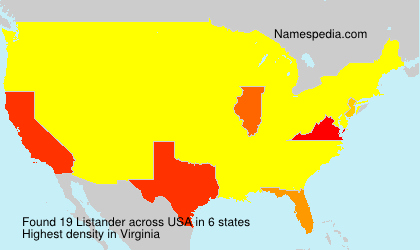 Surname Listander in USA