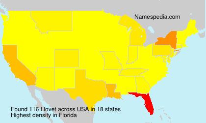 Familiennamen Llovet - USA