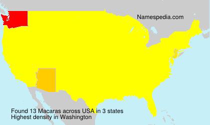 Familiennamen Macaras - USA